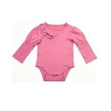 Kidsy Baby Girls Soft Pima Cotton Romper Bodysuit – Long Sleeve, Crewneck, Solid Colors