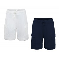Kidsy Boys Casual Beach Cargo Shorts – Soft Cotton, Pull-On/Drawstring Closure, Two Pockets, 2pc - White/Midnight, 2