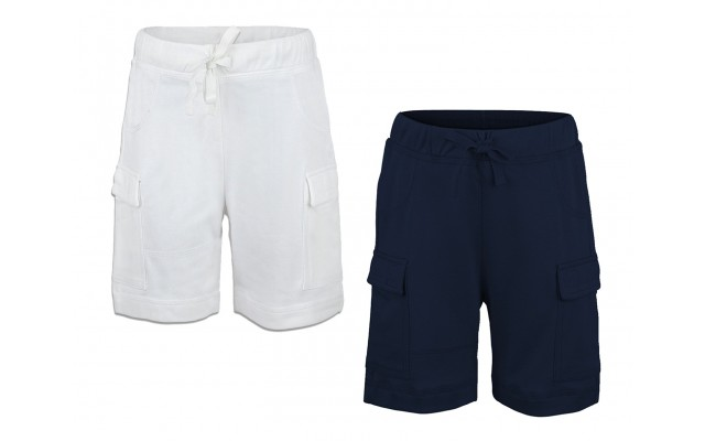 Boys Casual Beach Cargo Shorts – Soft Cotton, Pull-On/Drawstring Closure, Two Pockets, 2pc - White/Midnight, 2