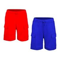 Kidsy Boys Casual Beach Cargo Shorts – Soft Cotton, Pull-On/Drawstring Closure, Two Pockets, 2pc - Crimson/Cobalt, 4
