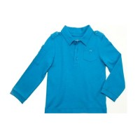 Kidsy Boys Solid Cargo Polo Peruvian Cotton T-Shirt – Long Sleeve, Polo Neck With 3 Buttons, Williamsburg Blue, 5
