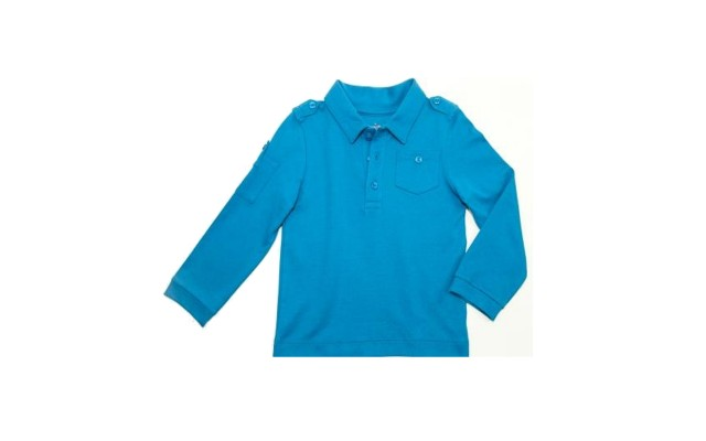 Boys Solid Cargo Polo Peruvian Cotton T-Shirt – Long Sleeve, Polo Neck With 3 Buttons, Williamsburg Blue, 5