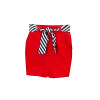 Kidsy Girls Casual Beach Nautical Shorts – Soft Cotton, Pull-On Closure, Two Pockets, Crimson, 8