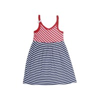 Kidsy Toddler Baby Girls Nautical Striped Peruvian Cotton Dress – Strappy, Loose-Fit, Long Skirt, Whte/Crimson/Midnight, 2