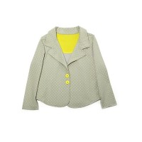 Kidsy Toddler Girls Polka Dots Blazer Jacket  – Notched Lapel, Two Button Closures, LIME DOT, 4