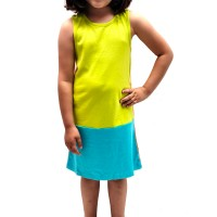 Kidsy Toddler Girls Solid Colors Peruvian Cotton Tank Dress, Lime/Turquoise/Orange, 2