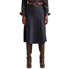 Lauren Ralph Lauren Women's Petite Size Satin Pull-On Skirt (Navy, 18s)