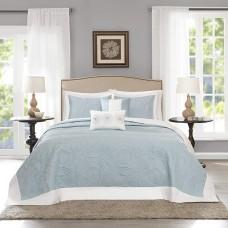 Madison Park Ashbury 5-Piece Quilted Queen Bedspread Set (Blue, Oversized Queen)