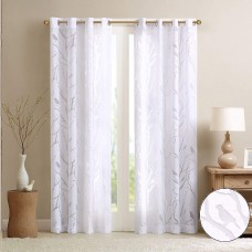 Madison Park Averil Sheer Burnout Bird Grommet Curtain Panel (White, 50″ x 84″)