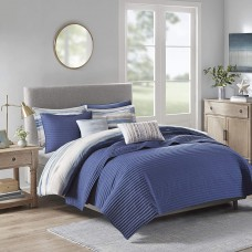 Madison Park Blue Marina 8 Pcs Printed Seersucker Comforter and Coverlet Set Collection (Navy, Full/Queen)