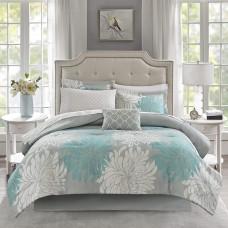 Madison Park Essentials Arlene Reversible 9 Pcs Full Comforter Set (Full,Aqua)