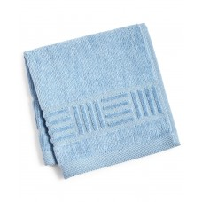 Mainstream International Inc. Basket Weave and Trailing Flower Towel Collection (Blue, 12X12)