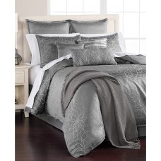 MARTHA STEWART Collection Radiant Day 14 Pcs Floral Silver Comforter Set (Grey, Queen)
