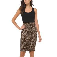 Michael Kors Cheetah Print Pencil Skirt (Dark Camel, X-Large)