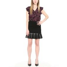 Michael Michael Kors Faux-Leather-Hem Skirt (Black, Medium)