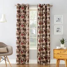 No. 918 Celestial Geometric Print Grommet Curtain Panel (Red, 48″ x 84″)
