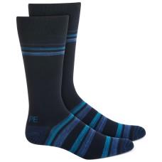 Perry Ellis Bamboo Double Stripe Socks, Navy