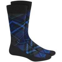 Perry Ellis Men's Microfiber Plaid Socks, Black/Navy