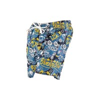 Printed, Solid & Fluorescent Colored Quick Dry Swim Shorts for Boys and Girls, Swim Trunks, Bathing Suits, Swimwear, Swim Shorts for Kids, Blue (Printed), 11-12T