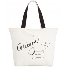 Radley London Celebrate Canvas Top Zip Tote Handbag, Black/White, L