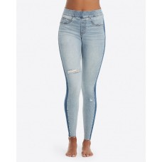 SPANX Distressed Skinny Jeans with Side Stripe (Blue, Large)