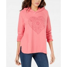 Style & Co Cotton Embroidered-Heart Sweatshirt (Pink, M)