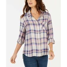 Style & Co Plaid Pintuck Shirt (Pastel Purple, XL)