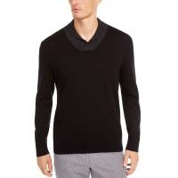 Tasso Elba Men's Contrast Shawl-Collar Supima Cotton Sweater(Black, 2XL)