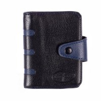 The Season Essentials Men's Slim Bifold Wallet With Snap Closure Multi Compartments, Black/Navy