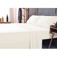 the Season Essentials Wrinkle Free Sheet Sets with Deep Pockets & Stain Resistant, 1800 Thread Count Bamboo Based, Ivory, California King