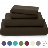 the Season Essentials Wrinkle Free Sheet Sets with Deep Pockets & Stain Resistant, 1800 Thread Count Bamboo Based, Brown, Queen