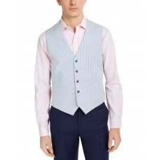 Tommy Hilfiger Men's Modern-Fit TH Flex Stretch Blue/White Seersucker Stripe Vest (Blue, X-Large)