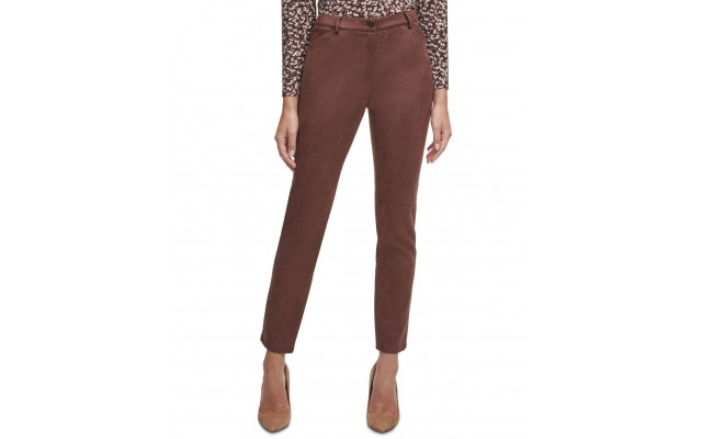 Women's Faux-Suede Ankle Pants (Brown, 14)