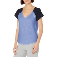 Tommy Hilfiger Women's Short Sleeve Cotton Tee Shirt with Hilfiger Logo Lounge Pajama Shirt (Warm Chambray)