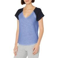 Tommy Hilfiger Women's Short Sleeve Cotton Tee Shirt with Hilfiger Logo Lounge Pajama Shirt (Warm Chambray), Warm Chambray, Small