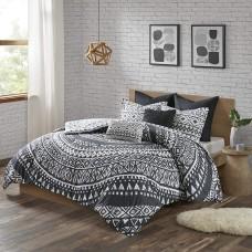 Urban Habitat Cotton Comforter Set-LuxeTraditional Design All Season Cozy Bedding with Matching Shams, Decorative Pillow (Black, Full/Queen)