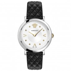 Versace Pop Chic Women's Watch Black Leather Silver Steel Case 36mm VEVD00119