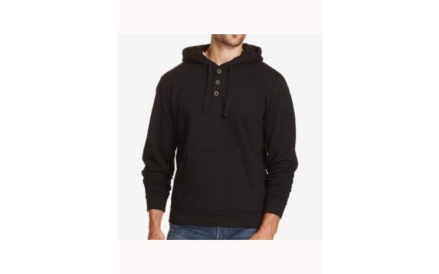 Men's Textured Henley Hoodie (Black, M)