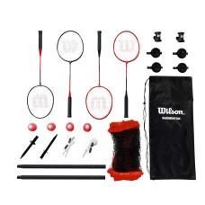 Wilson Outdoor Badminton Kit Infrared Shuttlecocks 4 Hypersteel Racquets 4 Shuttlecocks 20 ft Ağ  Carrying Bag – Red