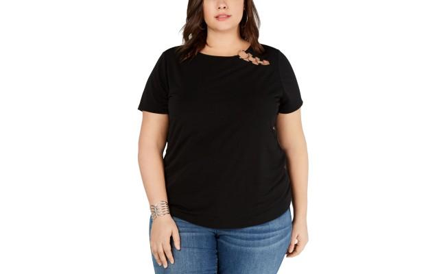 Womens Blouse Solid Plus Crewneck Hardware Jersey 4X – Black
