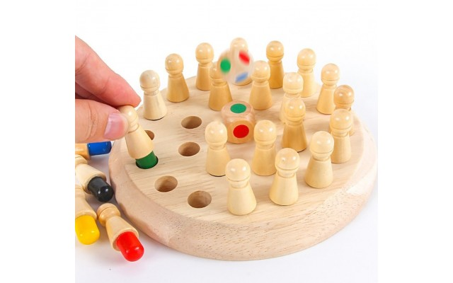 Wooden Memory Chess for Cognitive Development of Toddlers, Montessori Education Sensory Learning with Board Games for Preschool Children, Kindergarten Teaching Aids