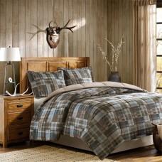 Woolrich Plaid Bed Comforter Set Ultra Soft Microfiber 3 Pcs. Bedding Sets – Bedroom Comforters (Grey/Blue, Full/Queen)