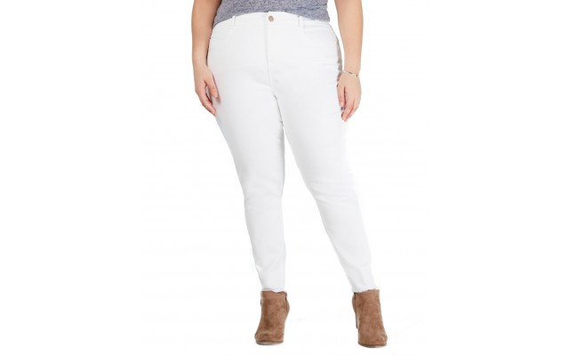 Ysj Plus Size Colored Raw-Hem Skinny Jeans 18W – Natural