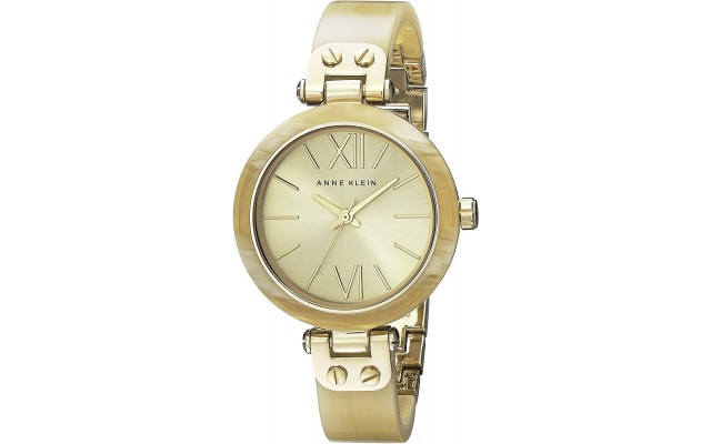 Women's 109652CHHN Gold-Tone Horn Plastic Bezel and Bangle Bracelet Watch
