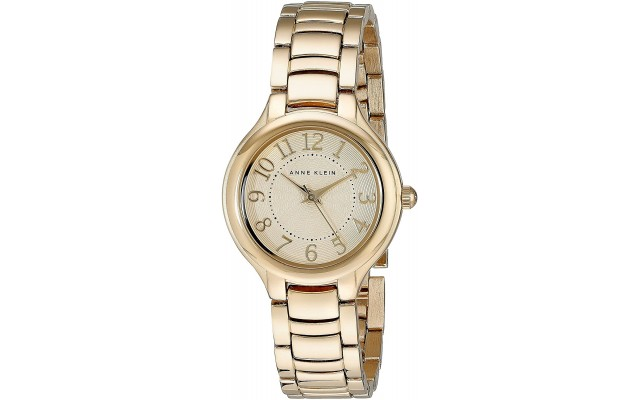 Women's AK/2008IVGB Easy-To-Read Gold-Tone Watch and Link Bracelet