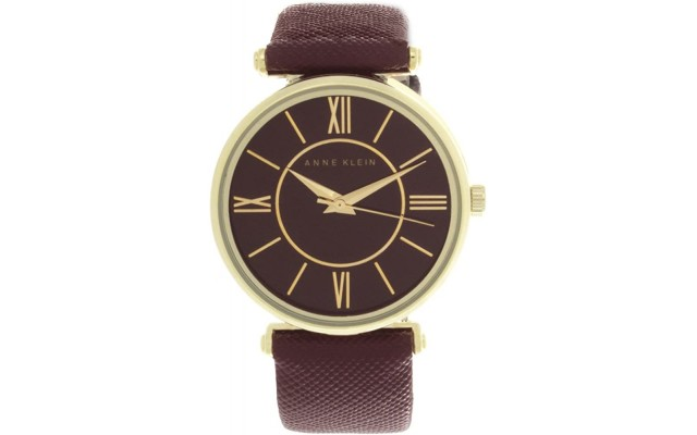 Womens Maroon Tone Dial Maroon Leather Strap Watch AK/2114BYBY