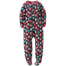 Carter's Big-girls' 1 Pc Fleece Footed Blanket Sleeper Pajamas (4, Chocolate)