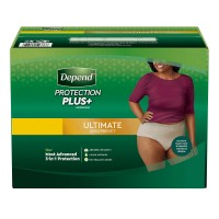 Depend Protection Plus Ultimate Underwear for Women, Most Advanced 3-in-1 Protection, Large - 84 Count