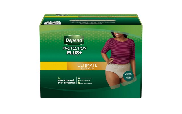 Protection Plus Ultimate Underwear for Women, Most Advanced 3-in-1 Protection, Large - 84 Count