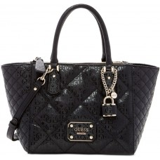 GUESS Ophelia Quilted Satchel Logo Embossed